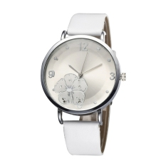 HKS Simplicity Distinctive Big Face PU Leather Strap Ladies Girls Quartz Watch (White) (Intl)