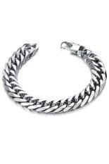 HKS Square Lock Chunky Titanium Steel Bracelet (Silver)