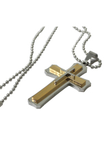 HKS Stainless Steel Cross Pendant Necklace Gold / Silver (Intl)