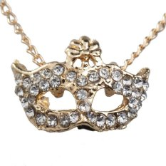 HKS Trendy Fashion Rhinestone Gold Bohemia Mask Pendant Women Chain Necklace (Intl)
