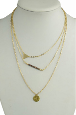 HKS Triangle Sequin Gold Multilayer Chain Necklace Gold (Intl)