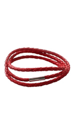 HKS Twist Leather Cord Necklace (Red) (Intl)