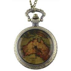 HKS Vintage Pocket Watch Retro Bronze Quartz Map B (Intl)