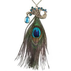 HKS Vintage Retro Rhinestone Peacock Long Feather Pendant Necklace Chain (Intl)
