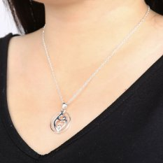 HKS Women Hollow Out Heart Rhinestone Pendant Fashion Alloy Silver Necklace (Intl)