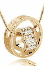HKS Womens Crystal Chain Rhinestone Love Heart Ring Pendant Golden White (Intl)