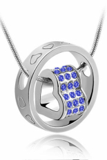HKS Womens Crystal Chain Rhinestone Love Heart Ring Pendant Silver Royal Blue (Intl)