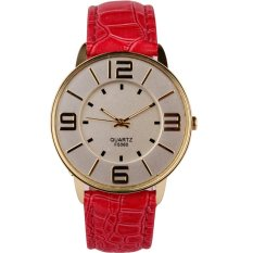 HKS Womens Ladies Fashion Numerals Gold Dial Leather Analog Quartz Watch Hot Pink (Intl)