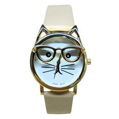 HKS Womens Mens Glasses Cat Faux Leather Analog Quartz Watch Beige (Intl)