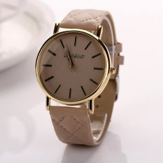HKS Womens Watches Grid Unisex Leather Quartz Dress WristWatch Beige (Intl)