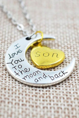 "HomeGarden Necklace Charm Pendant ""I LOVE YOU "" Son (Intl)"