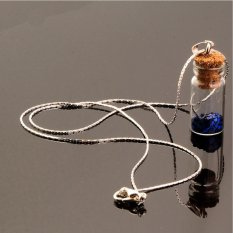 HomeGarden Silver Chain Girl Star Sand Glass Wishing Bottle Statement Necklaces Pendant FOU Blue