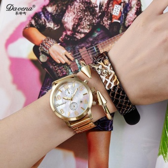 Hoongos Davena Wei Na Stainless Steel Watch With Mother Of Pearl Quartz Watch Calendar Full Scale Steel Watch Clear Fashion Watch