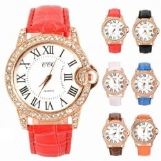 Hot Fashion Practical 6 Colors Adjustable Synthetic Leather Strap Women Watches (Coffee) - Intl - Intl