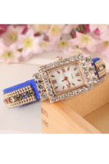 Hot Fashion Women Retro Chains Synthetic Leather Strap Watch Bracelet Wristwatch (Blue)