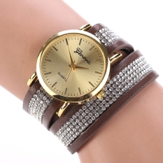 Hot Fashion Women Synthetic Leather Sequins Button Round Casual Party Wristwatch