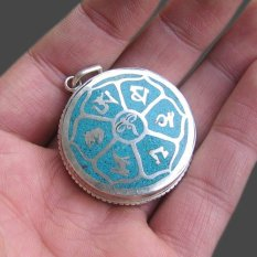Hot Sale Handmade Tibetan Silver Turquoise Lucky Words Box Pendant From India (Intl)