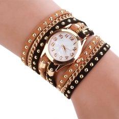 Hot Sale Women Luxury Quartz Leather Bracelet Wristwatch Coffee + Black (Intl)