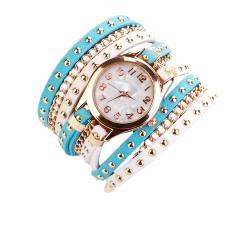 Hot Sale Women Luxury Quartz Leather Bracelet Wristwatch White + Blue (Intl)