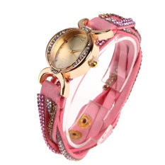 Hot Selling Casual Style Fabric Bracelet Rhinestone Wristwatch Pink (Intl)