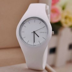 Hot Selling Fashion Simple Style Geneva Silicone Quartz Watch Jelly Women Dress Watches Feminine White