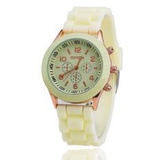 Hot Selling Silicone Geneva Watch Casual Quartz Women Wristwatch (Cream-colored) (Intl)