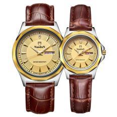 huiying NUODUN Brand simple personality diamond business quartz watch leather waterproof double calendar couple watches (SilverGold)