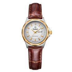 huiying NUODUN Brand simple personality diamond business quartz watch leather waterproof double calendar ladies watches (BrownGold)