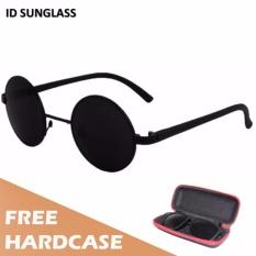 ID Sunglass - Kacamata Bulat Round Pria Wanita - Frame Hitam - Lensa Hitam SUN 1001-01