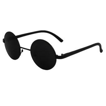 ID Sunglass - Kacamata Bulat Round Pria Wanita - Frame Hitam - Lensa Hitam SUN 1001-01 - 3 Buah