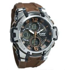 IGear Dual Time - Jam Tangan Sport Pria - Rubber Strap - IGear I56-1948 Brown