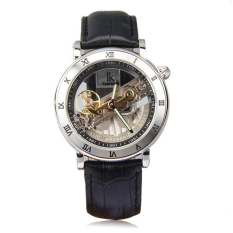 IK Top Brand Luxury Self-Wind Automatic Mechanical Watches Men Rose Gold Case Genuine Leather Skeleton Watch Relogios Masculino (Black)