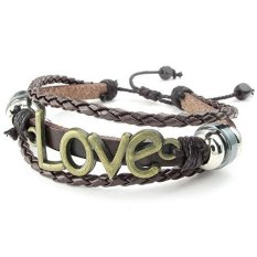 ILife KONOV Jewelry Men's Women's Braided Leather Bracelet Vintage Love Charm Bangle 7-9 Inch Adjustable (Brown)
