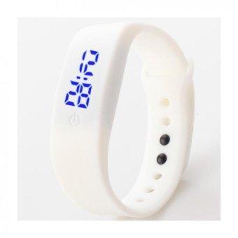 Ultra Tipis Wanita Pria Olahraga Lari Silikon Gelang Jam Tangan LED Digital (Hitam).