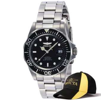 Invicta Pro Diver Men 40mm Case Silver Stainless Steel Strap Black Dial Automatic Watch 8926 & Baseball Cap Hat