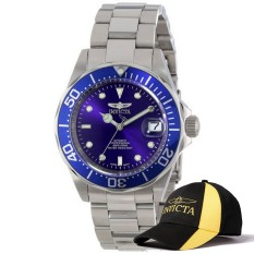Invicta Pro Diver Men 40mm Case Silver Stainless Steel Strap Blue Dial Automatic Watch 9094 & Baseball Cap Hat (Intl)