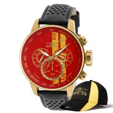 Invicta S1 Rally Men 48mm Case Black, Brown, Red Leather Strap Red, Yellow Dial Quartz Watch 19904