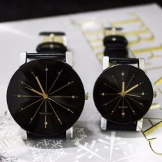 Jam Tangan Couple SNOW FLAKE Korean Style Analog Watch SEPASANG-HITAM