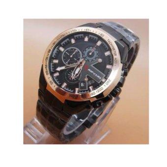 Jam Tangan Fashion Pria Drake Chrono Rip Curl - Ring Gold - Stainless Steel Black