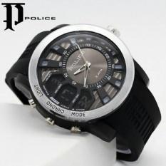 Jam Tangan Pria Sporty Police Dual Time Strap Rubber Black