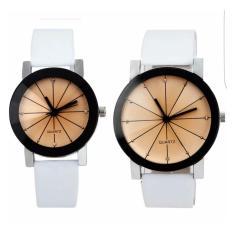 Jam Tangan Quartz 1 Pair Pria Dan Wanita Couple High Quality PU Stainless Steel Leather - Putih