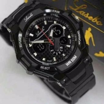 Jam Tangan Sport Pria Lasebo Dual Time Rubber Strap .