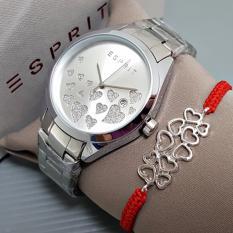 Jam Tangan Wanita / Cewek Esprit Paket Rantai Silver