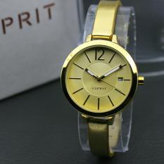 Jam Tangan wanita Fashionable Leathers Strap Gold Ring Gold ESPRIT