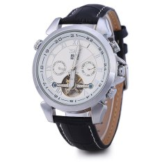 JARAGAR H057M Men Tourbillon Automatic Mechanical Watch Leather Strap Date Week Month - Intl