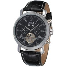JARAGAR Luxury Men's Calendar Automatic Tourbillon Self Winding Leather Strap Wrist Watch Black