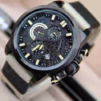 JEEP Jam tangan pria - Jeep Fashion - CHRONO AKTIVE & DATE ON - Leather Strap Kanvas - Stainless Steel