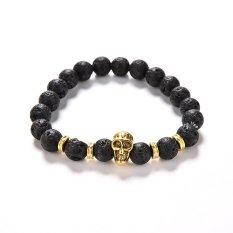 Jetting Buy Lava Rock Bracelet Natural Stone Golden Skull Men's Beaded Bracelet 8mm Bead