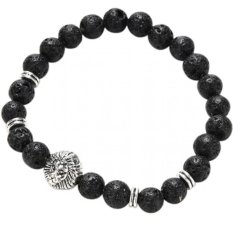 Jetting Buy Lava Rock Bracelet Silver Lion Head Men's Beaded Natural Stone Silver- Intl