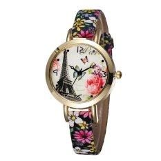 JIANGYUYAN NEW Butterfly Flower Printed Women New Brand Wristwatches Leather Strap Fashion Casual Watch Analog Quartz Clock?Flower Band Gold Case J